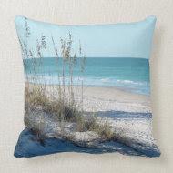 Serene Beach Sea Oats & Blue Water Pillow
