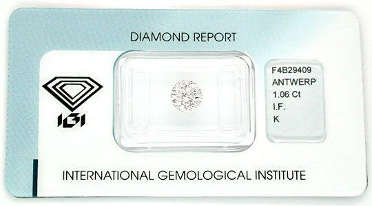 Original-Foto 1, DIAMANT TOP-BRILLANT 1.06ct LUPENREIN IGI SG/SG DIAMOND