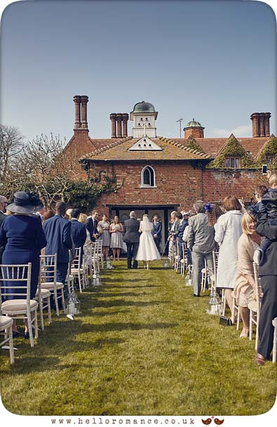 Outdoor wedding ceremony, Woodhall Manor, Suffolk - www.helloromance.co.uk