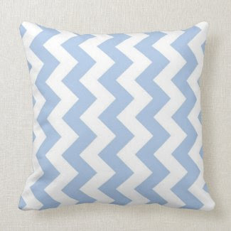 Light Blue and White Zigzag Throw Pillows