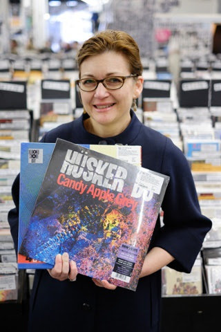 Linda Bettinger, 52 from Essex with her Candy Apple Grey by Hüsker Du on coloured vinyl and quadruple -disc Zaireeka by The Flaming Lips