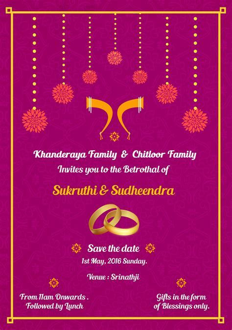 Simple South Indian Ring ceremony invite card Design