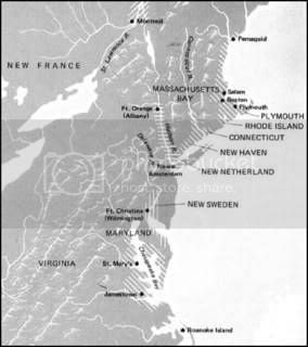 Map of early New England colonies