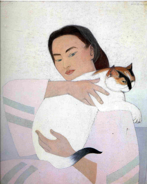 alongtimealone:  Young woman with white cat, 1971 Will Barnet (by BoFransson)