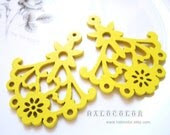 12 PCS - 58x48mm Pretty Yellow Chandelier Wooden Charm/Pendant MH022 08 - halocolor