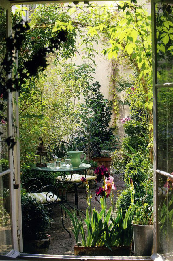 small reading nook in secret garden backyard