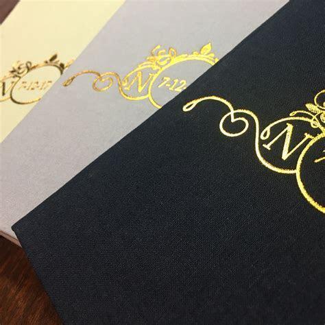 Gold Foil Stamped Monogram & Wedding Date Linen Pocket