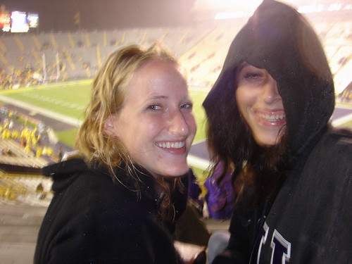 In the stands.... it's still pouring