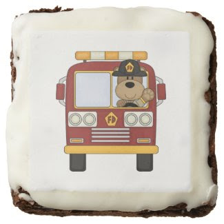 Fire Truck Bear Square Brownie