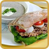 Tuna Sandwich, Mushroom Soup & Potato Salad