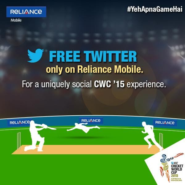 Reliance Offers Twitter Free Browsing With No Data Charges During World Cup 2015