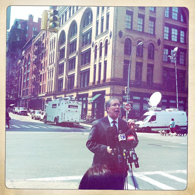 Manhattan Borough President Scott Stringer in front of Franklin Street, Tribeca