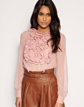 Image 1 ofASOS Lace And Georgette Ruffle Front Blouse