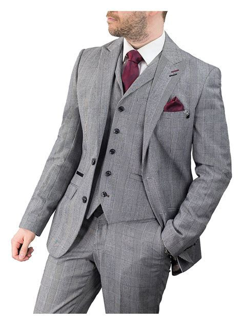 Cilento Man Grey Tweed Flint 3 Piece Suit   Cilento