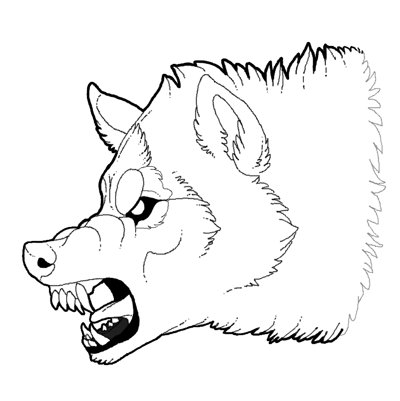 Snarling Wolf Lineart Sketch Coloring Page