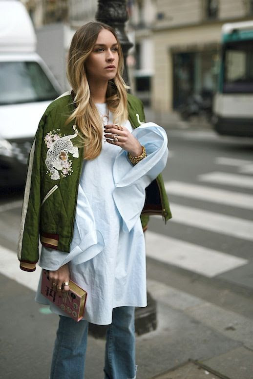 Le Fashion Blog Blogger Style Ombre Hair Embroidered Green Bomber Coat White Flare Sleeved Shirt Clutch Cuffed Denim Via Nina Suess