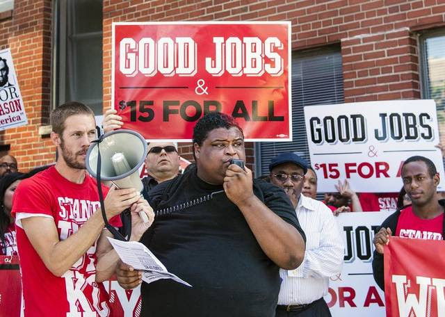 Andrew McConnell spoke during a rally Sept. 10 in Westport that sought a minimum wage of $15 an hour.