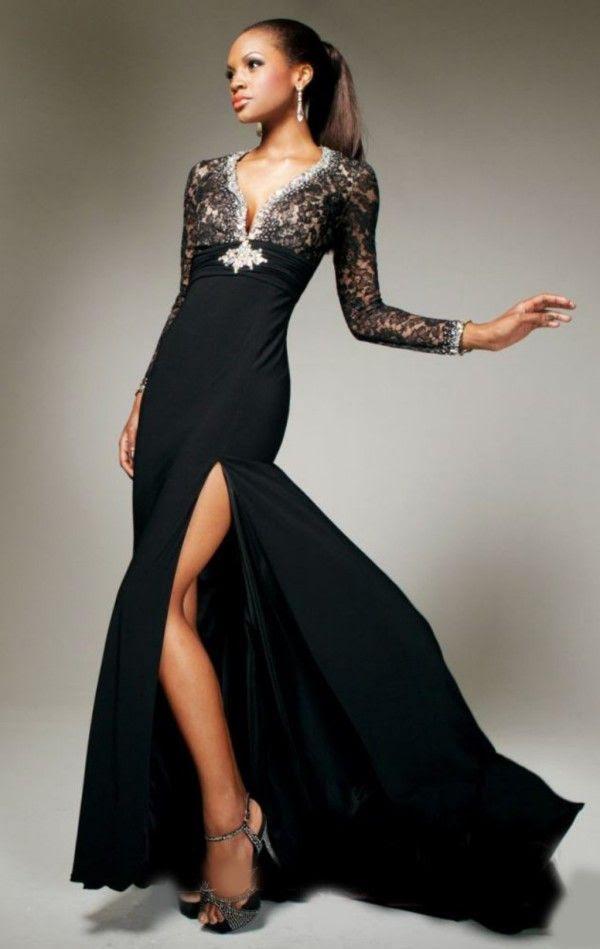 Black evening dress full length