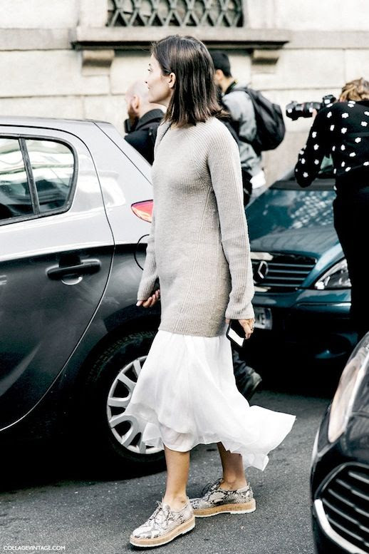 Le Fashion Blog Street Style Mfw Beige Ribbed Sweater Dress White Ruffled Maxi Skirt Python Oxfords Via Collage Vintage