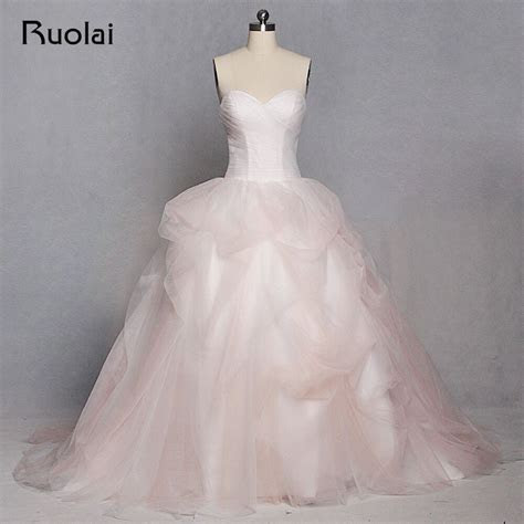 Cheap Blush Wedding Dresses 2019 Ball Gown Sweetheart