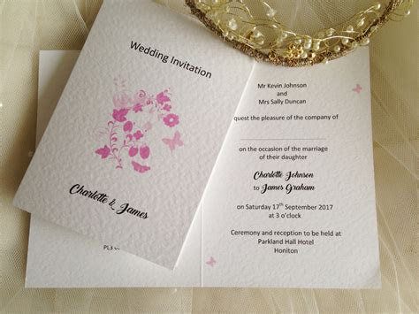 Pink Butterfly Wedding Invitations   Wedding Stationery