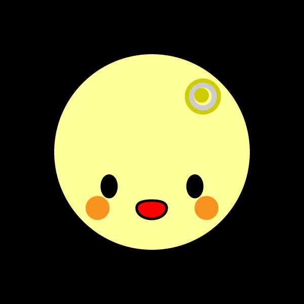 キャラクター風で笑顔のかわいい月の無料イラスト商用フリー オイデ43