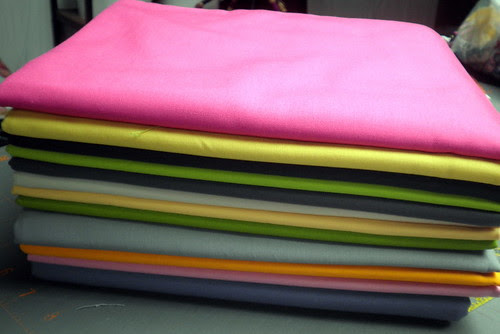 Kona Fabrics for the Patchwork Squared Modern Solids Quilt Along