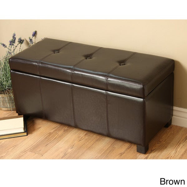 Faux Leather Ottoman Seat Storage Bench Bedroom Living ...