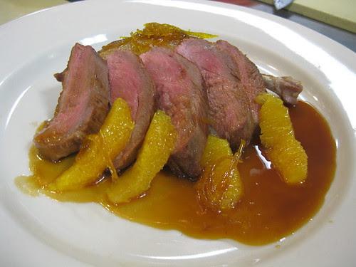 Sautéed Breast and Braised Leg of Duckling w. Orange Sauce