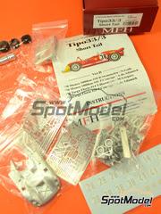 Model Factory Hiro: Maqueta de coche escala 1/43 - Alfa Romeo Tipo 33/3 Short Tail Shell Bosch Nº 28, 14, 41, 38 - Rolf Stommelen (DE) + Nanni Galli (IT), Piers Courage (GB) + Andrea de Adamich (IT), Toine Hezemans (NL) + Masten Gregory (US) - 1000 kilómetros de Monza, Targa Florio 1970 - kit multimaterial