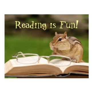 Reading is Fun! Chipmunk Postcard