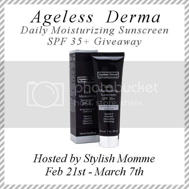 Enter the Ageless Derma Daily Moisturizer Sunscreen SPF 35+ Giveaway. Ends 3/7