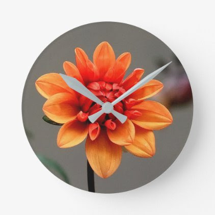 Orange & Grey Round Clock