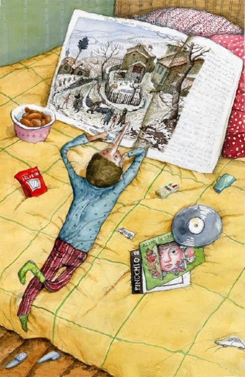 "Pinocchio ""Pinocchio"" reading / Pinocho leyendo ""Pinocho (ilustración de Irina Dobrescu)"