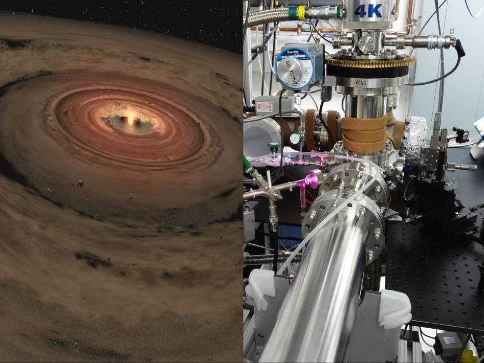 Artist's concept of a young planetary system at left, and lab equipment at right.