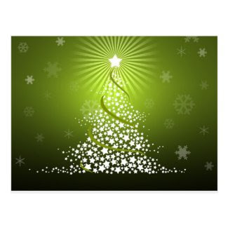 Vector Green Christmas Tree Postcard