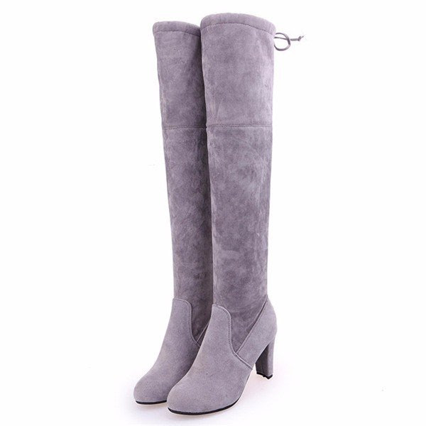 European Style Suede Sexy Over The Knee Thigh High Heels Party Boots
