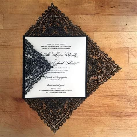 Chantilly Lace Square Invitation with Custom Thermography