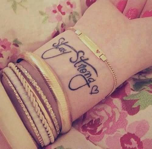 Stay Strong Wrist Tattoo For Girls