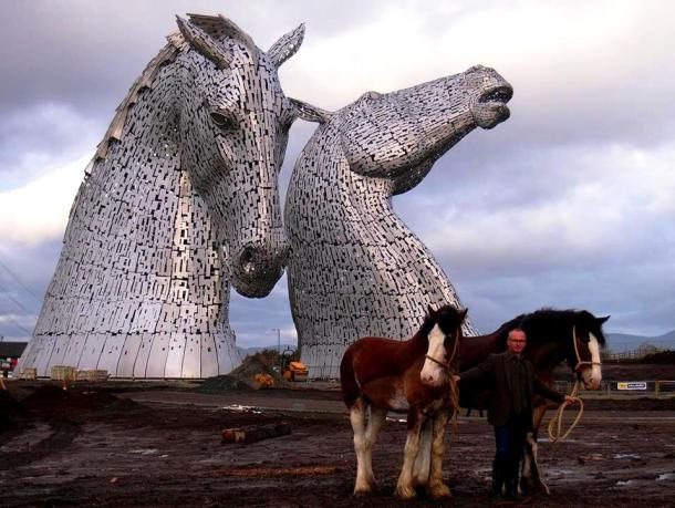 Equitecture: Sculptor Andy Scott stands with Clydesdales Duke and Baron, which served as models for The Kelpies.