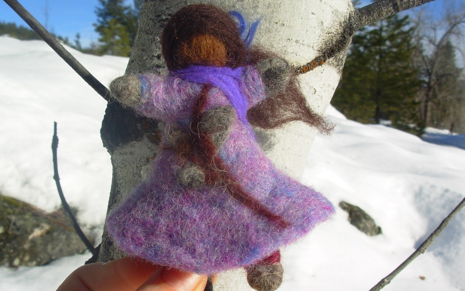 Felted Wool Pussy Willow Girl