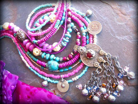 Multi Strand Chunky Ethnic Statement Necklace, Bellydance Tribal Necklace, Gypsy Jewelry via Etsy