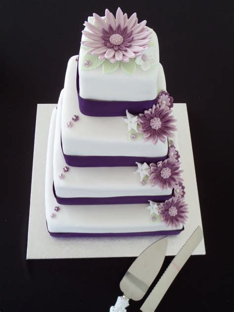 Square Wedding Cake White With Purple Flowers