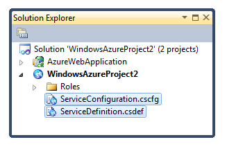 VS 2010 Azure Config Settings