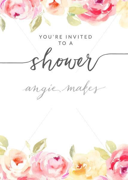 Watercolor Flower Shower Invitation Template With Hand