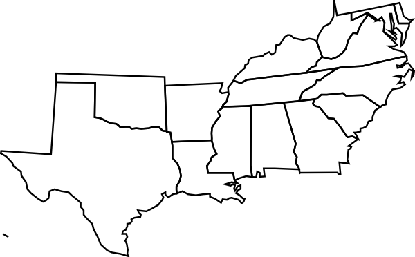 United States Southern Region Blank Map