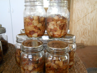 Jars of Pressure Canned Bacon Pieces