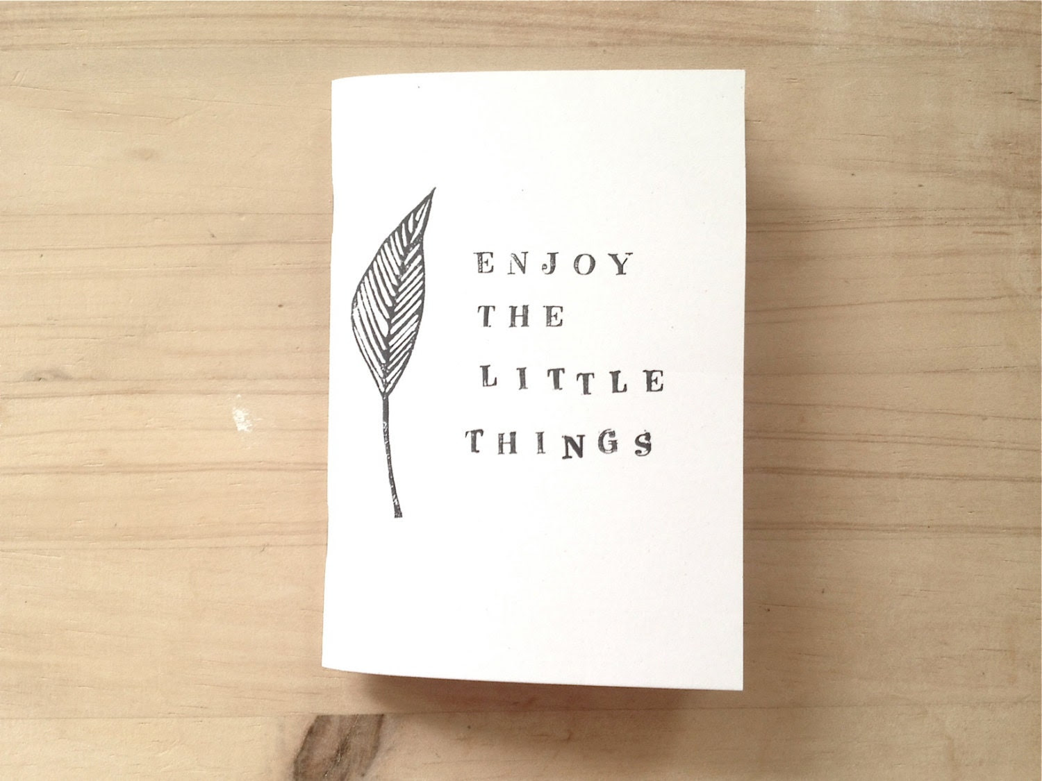Handprinted Mini Notebook with Leaf Inspirational Quote, Pocket Journal, Botanical - mipluseddesign