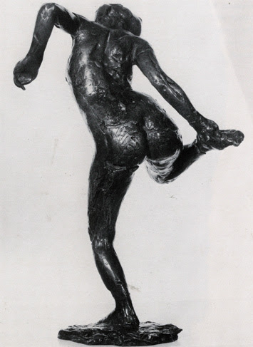 Dancer Looking at the Sole of Her Foot sculpture by Edgar Degas; Rewald #49 (#IL), nude