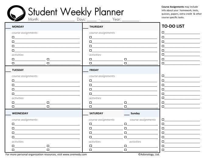 1000+ ideas about Student Planner Printable on Pinterest | Student ...